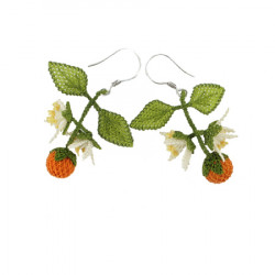 Earrings with crocheted orange blossom