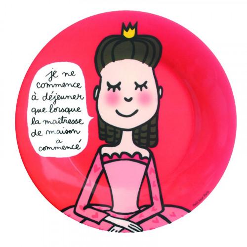 """Assiette Princesse """"Les bonnes manières"""" - rouge"""