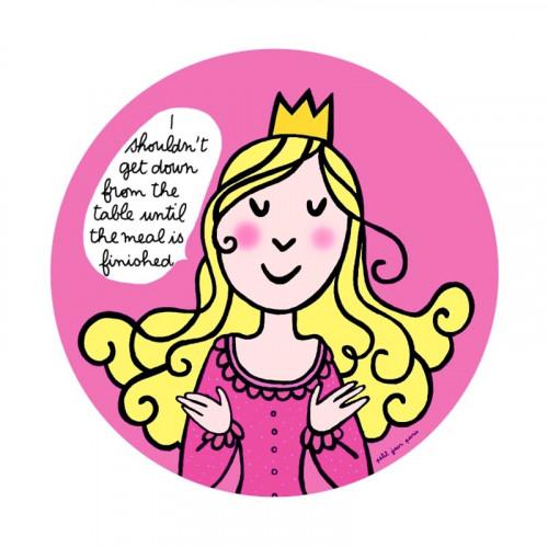 """Assiette princesse """"les bonnes manières """" en anglais - rose"""