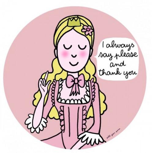 """Assiette princesse """"les bonnes manières """" en anglais rose - Please and thank you"""