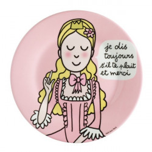 """Assiette princesse """"les bonnes manières"""" rose - S'il te plait et merci"""