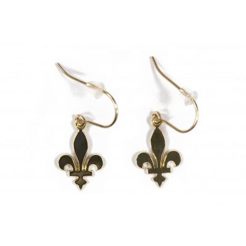 Boucles d'oreilles Fleur de lys et perle