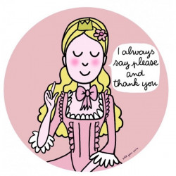 """""""Good Manners"""" Princess plate in English pink - Please and thank you"""