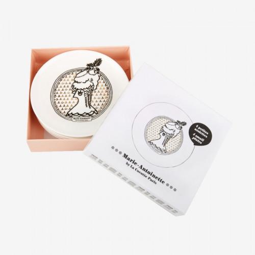 """Set of 4 """"Marie-Antoinette"""" small plates  - La Cocotte line"""