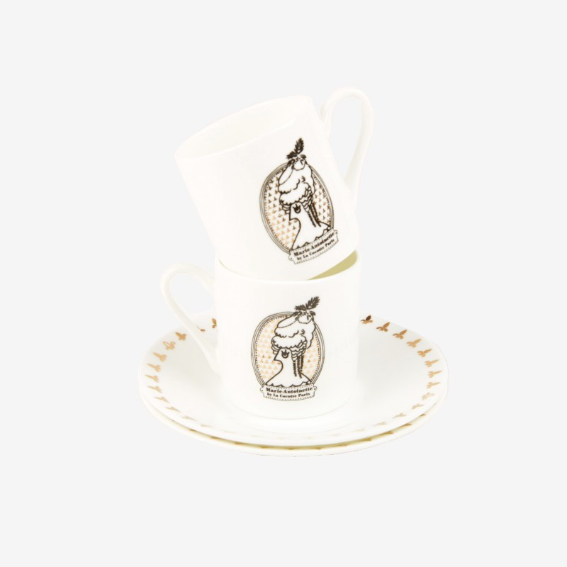 "Set of 2 ""Marie-Antoinette"" cups and saucers  - La Cocotte line"