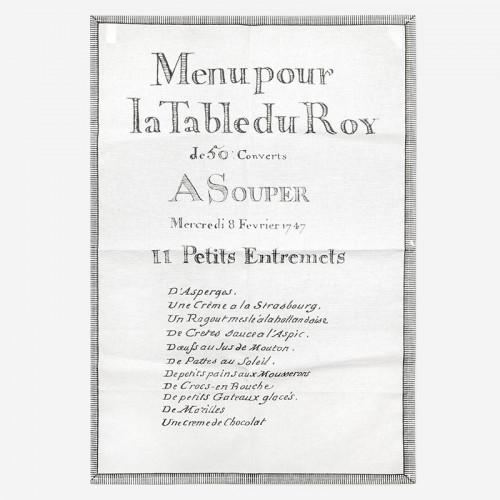 """Torchons """"11 Petits Entremets Menu du Roy"""""""