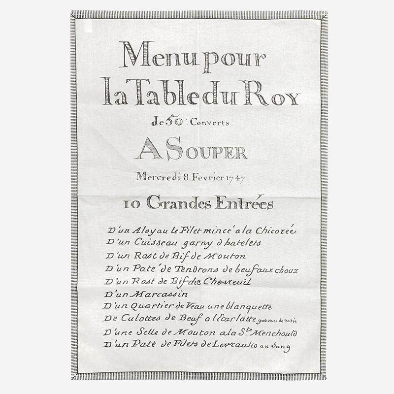 """Torchons """"10 Grandes entrées Menu du Roy"""""""