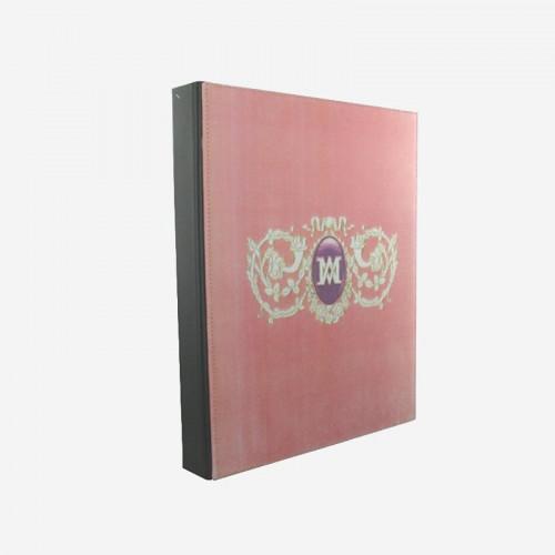 Classeur en cuir rose Marie-Antoinette