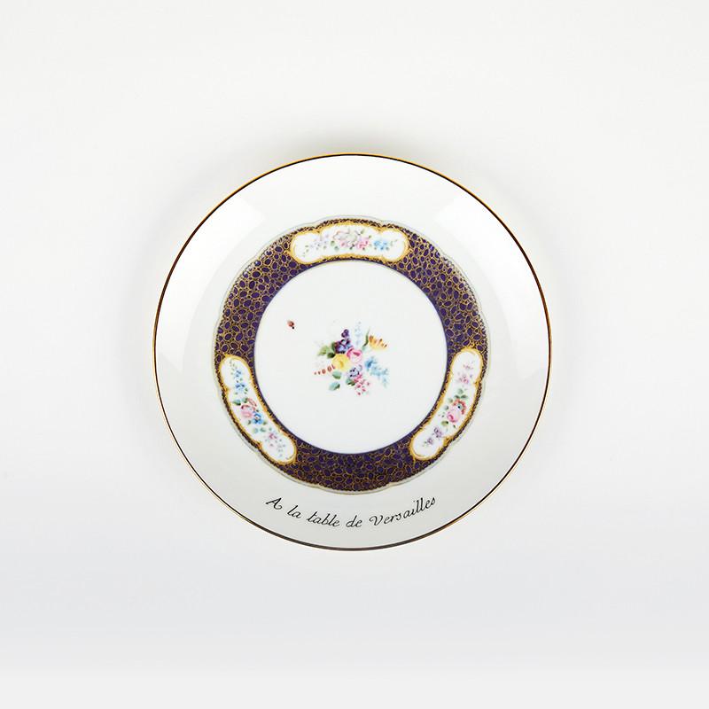 """Assiette à dessert """"A la Table de Versailles"""" - bleu"""